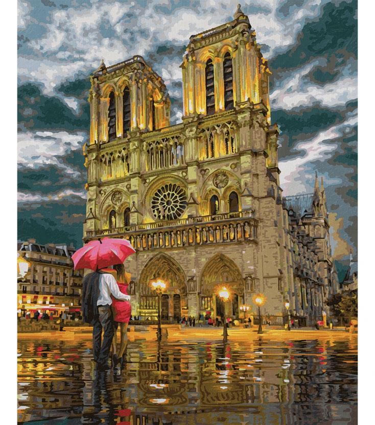 Katedrála Notre-Dame v Paríži vymaľovaný obraz