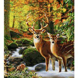 Jelene v lese (40 x 50 cm)