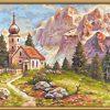 Kostolík v Dolomitoch maľovanie podľa čísel Schipper
