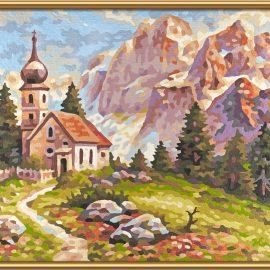 Kostolík v Dolomitoch (24 x 30 cm)